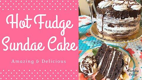 Hot Fudge Sundae Cake with Cream Filling