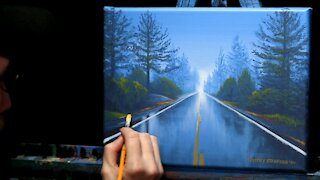 Acrylic Landscape Painting of a Rainy Road - Time Lapse - Artist Timothy Stanford