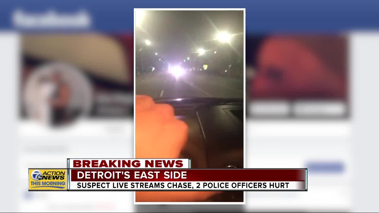 Suspect livestreams chase, 2 Detroit police officers hurt