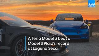 A Tesla Model 3 beat a Model S Plaid's record at Laguna Seca.