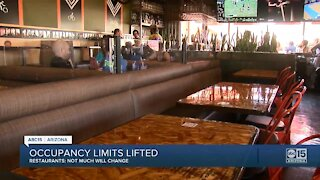 Restaurant owners react to Governor Ducey lifting capacity limits