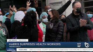 Harris surprises health workers
