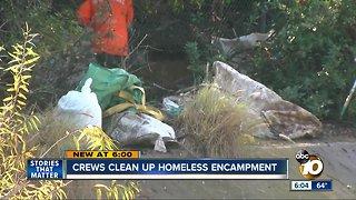 Crews clean up San Diego homeless encampment