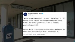 KeyBank responsible for delay in unemployment benefits