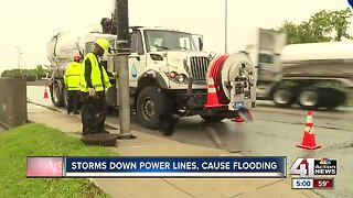 Kansas City crews clean up flooded streets after heavy rains