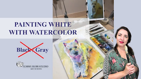 Learn to paint white fur with watercolor: colorful dog portrait
