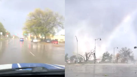Watch Insane Tornado Show Up Out Of Nowhere When Guy's Driving