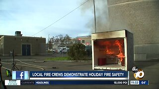 San Diego firefighters, Burn Institute demonstrate holiday fire safety