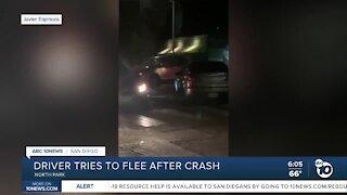 Driver tries to run away after crash