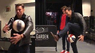Hugh Jackman Shows Off Crazy Basketball Skills with Harlem Globetrotters!