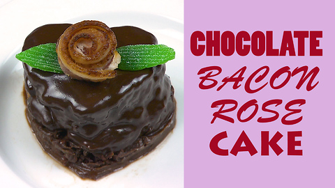 Valentine's chocolate cake recipe with bacon!