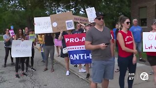 Dozens gather outside Oakland County Health Department to protest school mask mandate