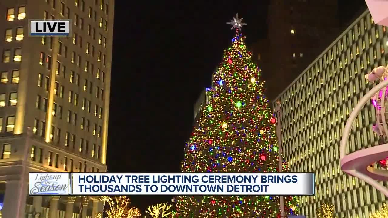 Holiday tree lighting ceremony brings thousands to downtown Detroit