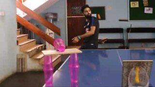 Amazing ping-pong trick shot