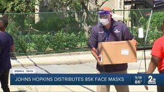Johns Hopkins University and Medicine distributes 85k face masks