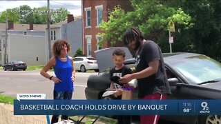 Basketball coach holds drive-by banquet