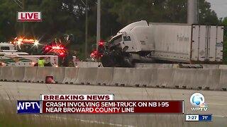 Semi crash causes lane closures on NB I-95