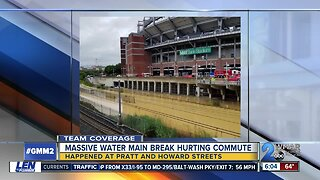 Water main break affects traffic in Downtown Baltimore