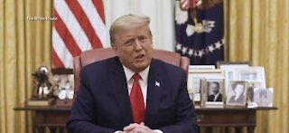 Trump releases prerecorded video condemning violence