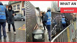 Footage shows rival graffiti artist vandilise Banksy