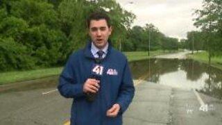 Brush Creek rises over banks during flash flooding event