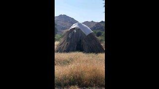 Hut in desert