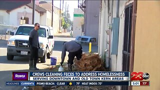 Crews cleaning feces to address homelessness