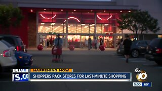 San Diegans hit stores on Christmas Eve for last-minute shopping.