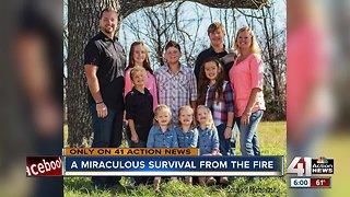 Kansas family celebrates survival after house fire