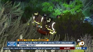 Woman rescued after veering off freeway in Carmel Valley area