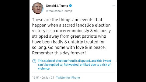 POTUS speech got him banned on Twitter