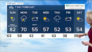 Warm Sunday ahead with a chance of showers
