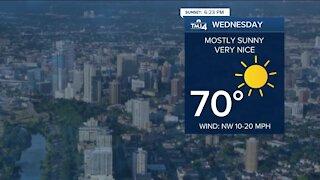 Comfortable evening ahead, warmer temperatures continue Wednesday