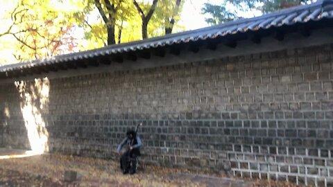 A street musician in Autumn Seoul street, South Korea