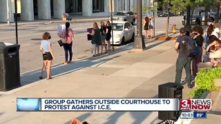 Group gathers outside courthouse to protest against I.C.E.