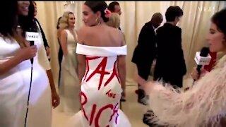 AOC Wears A 'Tax The Rich' Dress At The 30K Per Ticket Met Gala