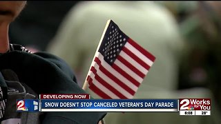 Snow doesn't stop canceled veteran's day Parade
