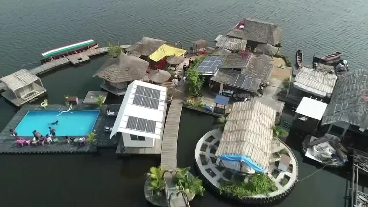 Floating island made from plastic waste in Africa