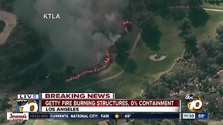 Fire near Getty Center in Los Angeles shuts down roads, forces evacuations