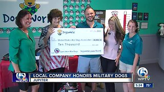 DogsWorld in Jupiter presents $10,000 donation to US War Dogs Association