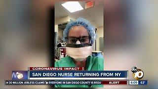 San Diego nurse returning home after frontline work in New York