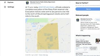 Florida Governor issues State of Emergency in response to Piney Point leak in Manatee County