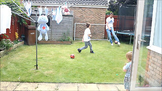 Guys playing football