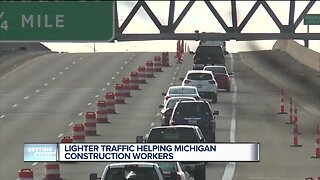 Lighter traffic helping Michigan construction workers
