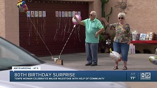 Tempe woman gets a big 80th birthday surprise!