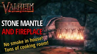 Stone Fireplace And Mantle - Valheim