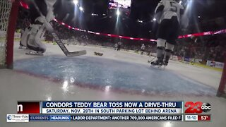 Condors Teddy Bear Toss taking place in drive-thru setting