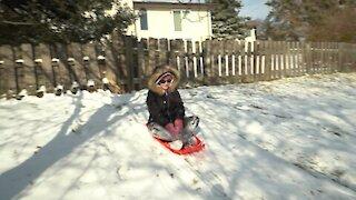 Backyard Sledding Fun!