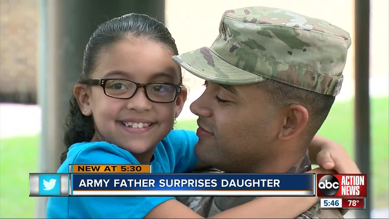 Military father surprises daughters