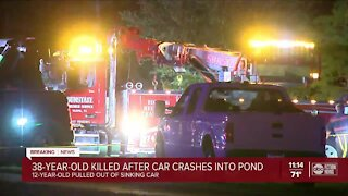 38-year-old killed after car crashes into pond